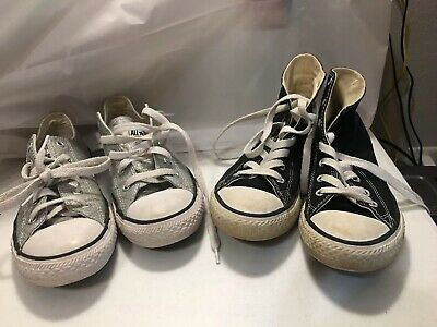 83d9adec637c Converse All Star Chuck Taylor Shoes Youth Kids Silver Size 3 Junior 2 Pairs