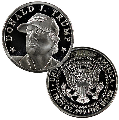 lot of FIVE Donald J b571 Trump with the Hat 1 oz .999 Fine Silver Round