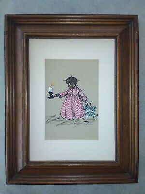 "Alice Scott original of little girl with candle and doll 4 1/4"" by 5. Sale"