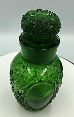 Collectable Green Glass Etched Perfume Bottle 95 mm Tall
