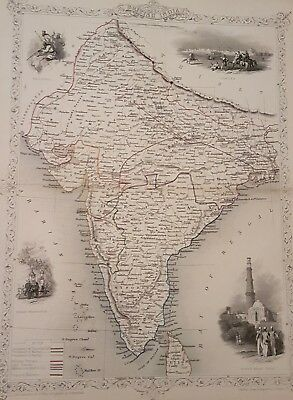 "Antique Map ""BRITISH INDIA"" Original Tallis Rapkin c. 1851"