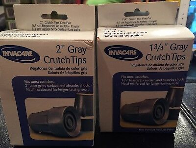 2-Invacare Part: Crutch Tips-X Lg 2 In OD Base GY (Pair) 9153635386