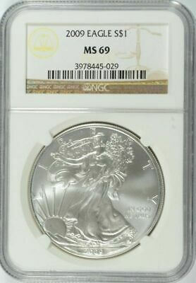 2009 AMERICAN SILVER EAGLE NGC MS 69 .999 fine silver 1 Ounce Troy