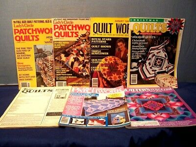 MIXED LOT of 7 VINTAGE QUILT MAGAZINES 1979 1980's INSTRUCTIONS PATTERNS PHOTOS