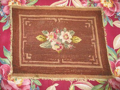 Beautiful Antique Needlepoint Tapestry-Vintage Chair bench cover Roses Completed