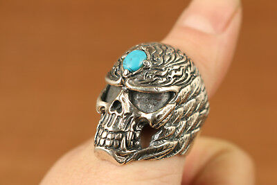 unique fashion Chinese Tibet Fine solid 925 Sterling Silver carved skull Ring