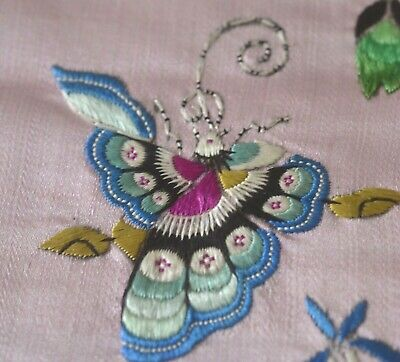 Vintage Antique Chinese Silk Panel Butterflies Uu432