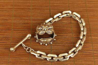 miao Silver miao yin Hand-Carved fashion copper dog Bracelet collectable art