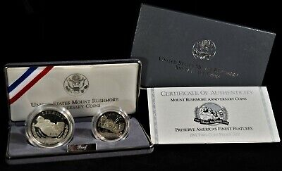 1991 Mount Rushmore Two-Coin Commemorative Proof Set w/OGP & COA (b566.2)