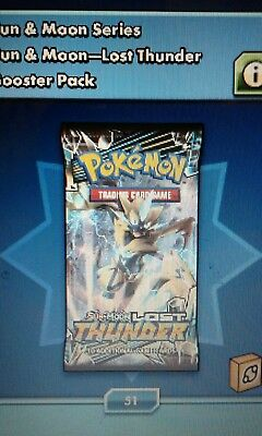 Pokemon Code Online 50 x LOST THUNDER Sun Moon Code Card Pack Lot - in game