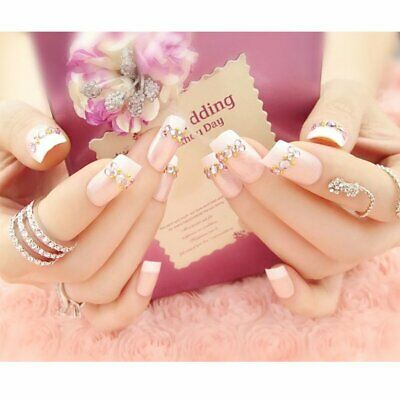 French Style False Nails Patch With Sparkle Rhinestone Bridal Nail Patch B⊕