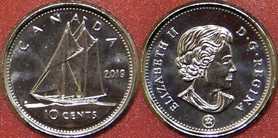 Brilliant Uncirculated 2019 Canada 10 Cents From Mint's Roll