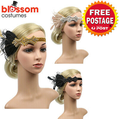 K748 1920s Headband Vintage Bridal Gatsby 20s Chicago Flapper Feather Headpiece