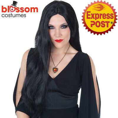 W647 Long Black Witch Morticia Adams Vampire Gothic Halloween Deluxe Costume Wig