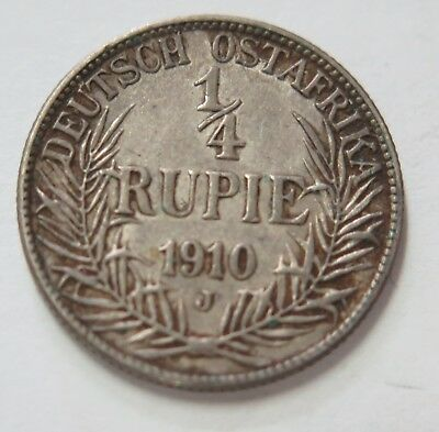 Germany East Africa 1910 J 1/4 Rupie Coin