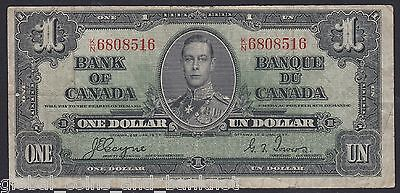 Canada -  1937 $1 Bank Of Canada - Gordon Towers  Nice VF