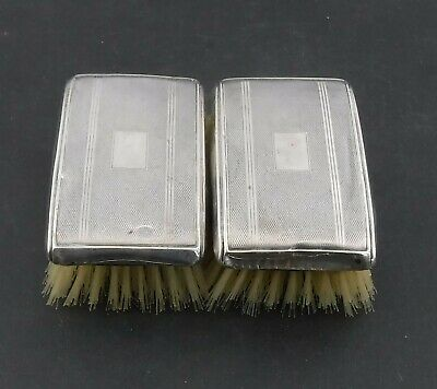 Pair Mid-Century Sterling Silver Clothes Brushes, Birmingham 1956 Broadway & Co