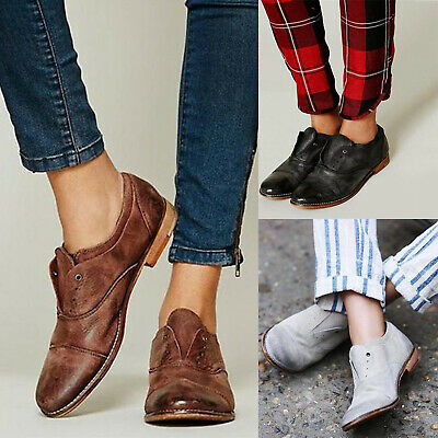 282730b049e Fashion Women Flats Shoes Slip On Oxfords Loafers Work Office Brogue Shoes  Sizes