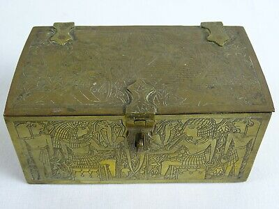 Antique Egyptian Finely Chased Brass Jewellery Trinket Cigar Box Egypt