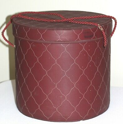 MODEL HOME HENRY ENRICH CO. CLOSET STORAGE hat sewing BOX QUILTED burgundy VTG