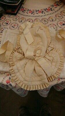 Antique Childs hand embroidered  bonnet