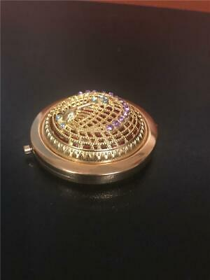 Peacock Compact Mirrors Pocket  Gold Color Vintage Filigree  3D With Stones