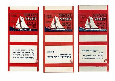 3 Old Australia c1900s ARTB matchbox labels Duncan's Yacht Sayings Folks Who etc