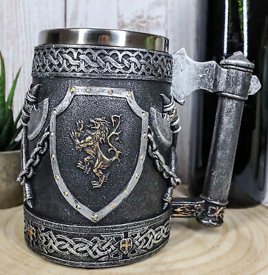 Large Medieval Coat Of Arms English Lion Heraldry Shields And Crossed Axes Mug
