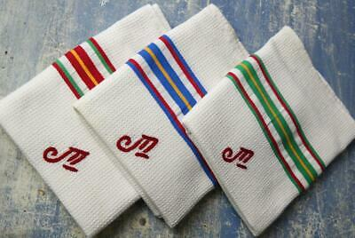 3 Vintage French torchons STRIPED Monogram French waffle cotton tea towels #F28