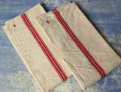 2 Antique French unused linen torchons RED STRIPE french tea towels cloth #F29