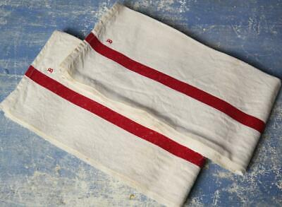 2 Antique French unused linen torchons RED STRIPE french tea towels cloth #F30