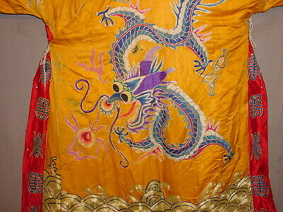 Wonderful Chinese  Antique Silk With Goldbrocade Dragon Ritual Jacket ***hg***
