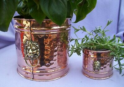 LARGE & SMALL VINTAGE COPPER PLANTERS  185mm H x 185mm W & 93mm H x 102mm W