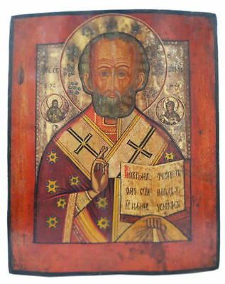 Antique 19th C Russian Hand Painted on Silver Wooden Icon of St. Nicholas