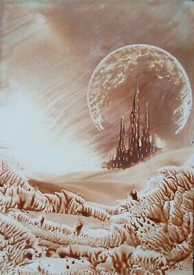 ORIGINAL ACEO encaustic art (BEESWAX) fantasy landscape PAINTING castle moon