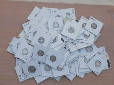 (84) Mercury Head Dimes (1939-1945) Circulated (All Dates & Mint Marks Legible)
