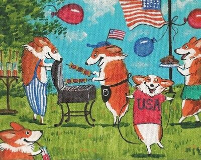 8x10 FOLK ART PRINT OF PAINTING PEMBROKE WELSH CORGI RYTA 4th OF JULY AMERICANA