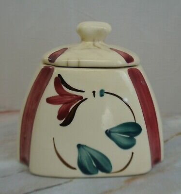 """Vintage Purinton Pottery  Canister  With Red Flower 5-5/8"""" High"""