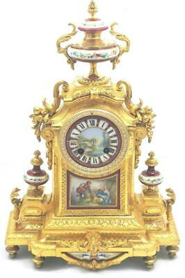 Antique Mantle Clock Lovely French Gilt & Red Sevres Bell Striking Richard & Co