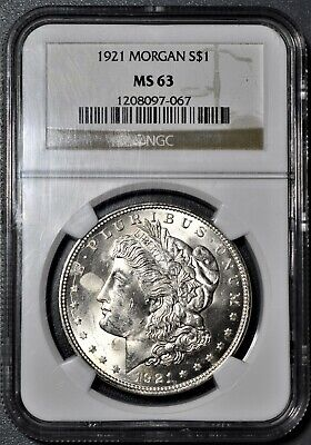 1921 $1 Silver Morgan Dollar, Certified By Ngc Ms63,  Cd37