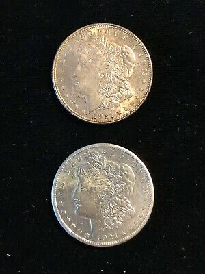 Lot of 2 Morgan Silver $1 Dollar Coins 1921 & 1921-S About Uncirculated to BU