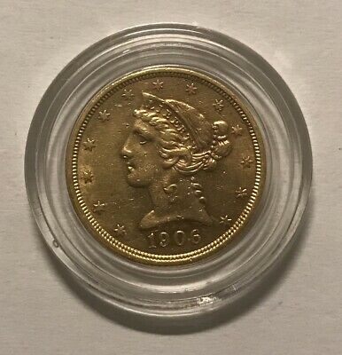 1906-S, gold,$5,five,dollar,1/2 eagle,bullion,U.S,liberty,coin, pictured,classic