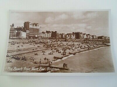 BRIGHTON, The Beach From West Pier -  Vintage RPPC  §E513