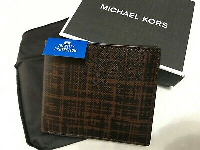 5a22b7de7981 Michael Kors Mens Harrison Plaid RFID Billfold Wallet Mocha Msrp 118 Leather