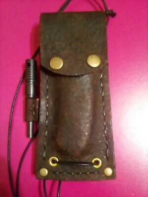 """ontario Rat-1 Aus-8"" Folding Knife And ""survivor Leather Sheath + Fire Starter"""