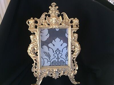 Vintage, Antique Ornate Rococo Style, Brass Freestanding Picture Frame Stunning