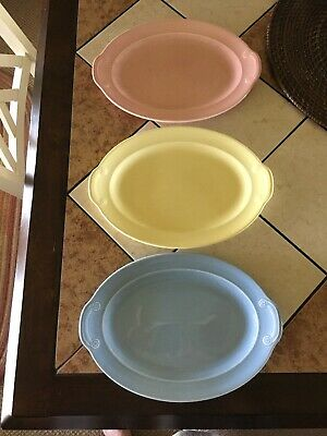 Vtg 3  T.S. & T. LuRAY PASTELS Oval Tab Handle Platters Yellow Blue & Pink
