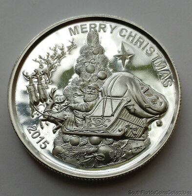 2015 Merry Christmas 1 Troy Oz .999 Pure Silver Art Round