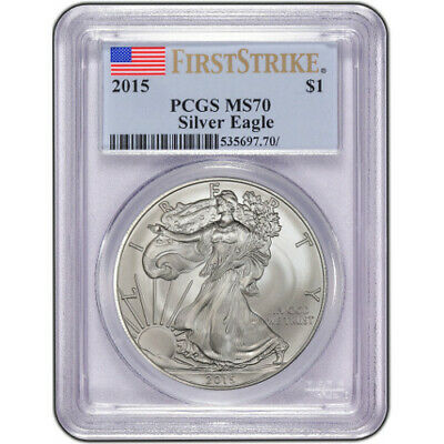 2015 AMERICAN SILVER EAGLE PCGS MS 70 First Strike .999 fine silver 1 Ounce Troy