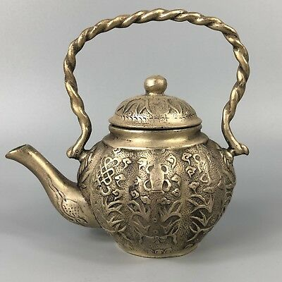 Chinese Antique Collectible Tibet Silver Handwork Water Plants Rare Old Teapot